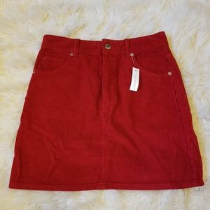 Topshop Moto Red Corduroy Mini Skirt